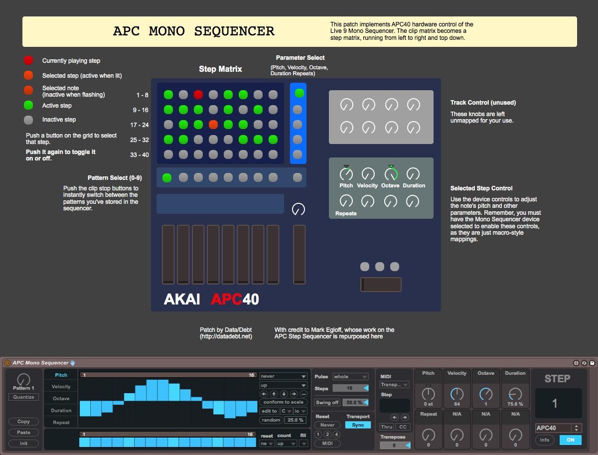 APC Mono Sequencer version 1 0 by datadebt on maxforlive com